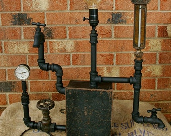 Funky industrial steampunk light fixture
