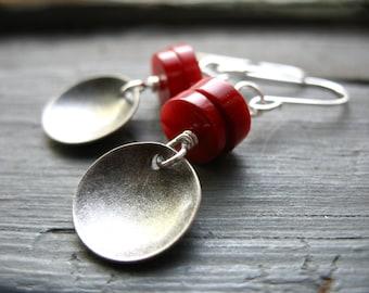 Red Coral Earrings, Bamboo Red Coral Stone Dome Metalwork Earrings, Handmade Artisan Earrings