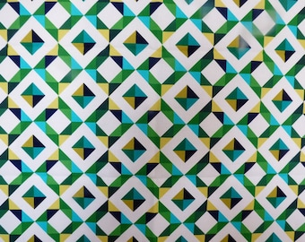 FABRIC HAS POP ART GEOMETRIC PATTERN