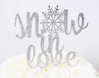 Snow in Love cake topper/ Winter Wedding cake topper/ winter engagement