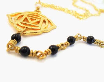 Root Chakra necklace, black onyx and gold Muladhara symbol, Reiki healing jewelry, root chakra healing stones, Gold and black Y lariat