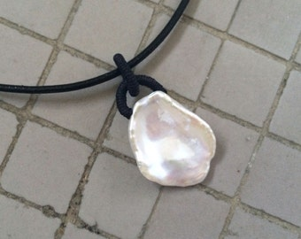 Rare Extra Large Luminous Natural Freshwater Keishi Petal Pearl Macrame Pendant with Black Leather Cord Necklace