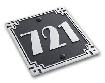 House Number Address Plaque Art Deco Square Style. Cast Metal Personalised Yard Mailbox Sign With Oodles Of Color, Number And Letter Options