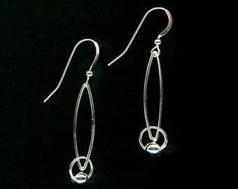 Wire Jewelry Earrings Silver Drop Dangle Earrings Beaded Sterling Silver Women Gift Anniversary
