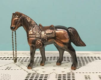 WesternHorse Figurine,  Cast Copper Colored Metal Horse, Horse Statue Gift, Gift for horse Collector, gift for her, gift for him,  Animals