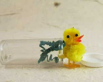 Cute Little Chenille Chick in a Bottle - Tiny - Better than Novelty Variety - for Easter Projects & More