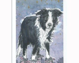 Border Collie dog wearing slippers 8x10 art print