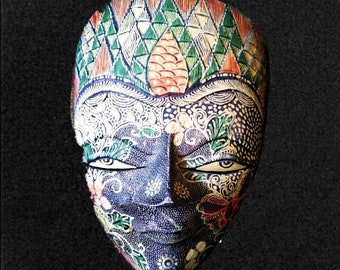 Cool Vintage Indonesian Paper Mache Mask to Hang on Wall