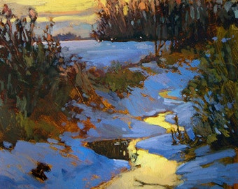 "Tonalist Impressionist Art - Matted Giclee Fine Art Print ""Winter's Eve"" Sunset 11x14 by Jan Schmuckal"