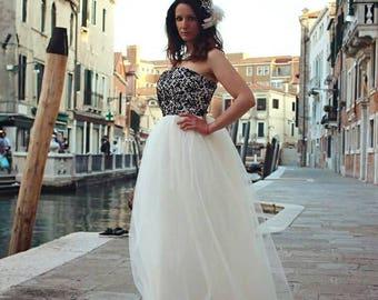 Bespoke Ivory and Black Lace Wedding Dress Bohemian Vintage Victorian