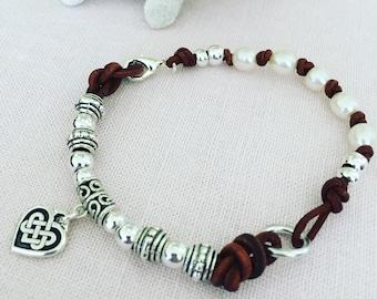Bohemian Fresh Water Pearl and Leather Bracelet, Celtic Knot Heart Bracelet