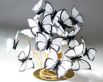 Wedding Centerpiece/candle centerpiece,gold decor,party decor butterfly,Bat mitzvah,white butterflies,wedding table, fantasy,shabbychic