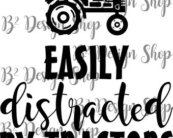 Easily distracted by tractors - SVG file