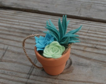 Mini Faux Succulent Arrangement - Felt Succulents in a Clay Pot Christmas Ornament -Potted Air Plant - Teacher Gift - Hostess Gift