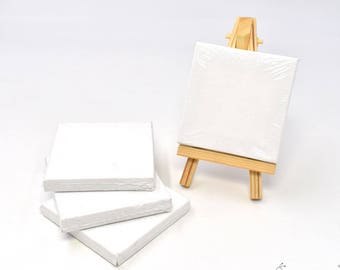 Set of 4pcs Mini Artist Blank Canvas Frame 3x3inch ( 7x7cm ) Oil Water Painting Board Flat Canvas with 1pc Mini Wood Display Easel