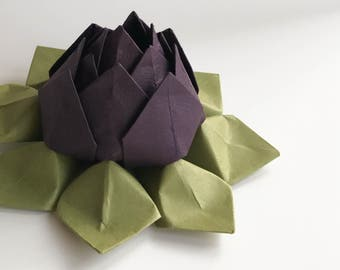 Paper Flower - Origami Lotus Flower - Eggplant Purple and Moss Green - Pet Loss, Sympathy, can ship directly