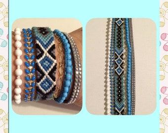 Cuff Bracelet with friendship bracelet,