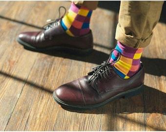 Squares  men's socks.  Mosaic, violet, squares, men's socks.