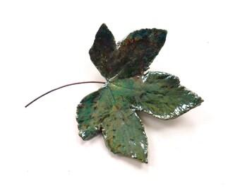 Ceramic leaf wall art ~ ceramic leaf, raku leaves hanging wall decoration, leaf art sculpture, housewarming gift for Mum, moving present