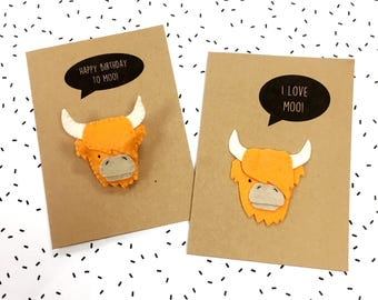 Felt Highland Cow Happy Birthday Card - Felt Cow I Love Moo You Anniversary Card - Felt Thank You Pun Card - Felt Highland Cow Brooch Pin