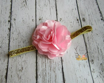 Baby Pink Satin & Gold Glitter Headband - Photo Prop -  Baby Infant Toddlers Girls Women - Pink Gold - Girls - Metallic Gold - Pastel Pink