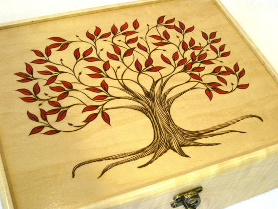 Autumn Tree of Life Wooden Watch Box or Tea Chest Large