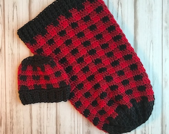 Red Plaid Cocoon With Hat- Size Newborn, Buffalo plaid, Newborn photo prop, handmade, Ready to ship, Cocoon, Red Plaid, Baby shower