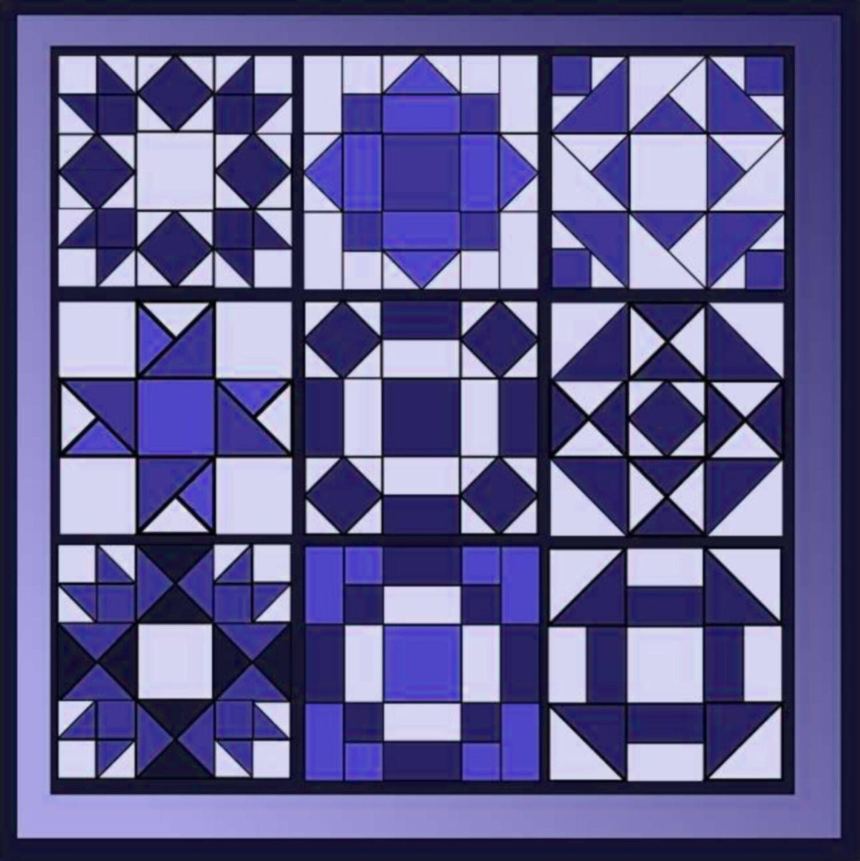 Patchwork Quilt Block Vorlagen Papier STARBUST QUILT neun