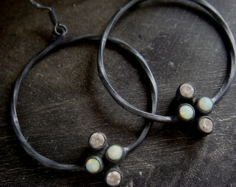 White Sapphire and Opal Earrings Oxidized Silver Opal Hoop Earrings