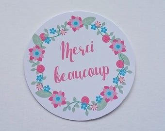 Set of 10 round adhesive sticky tags thank you so much style liberty