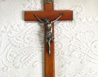 pewter crucifix . crucifix . cross. red wood crucifix
