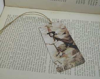 Witch Bookmark Cute Victorian Witch bookmark metal bookmark