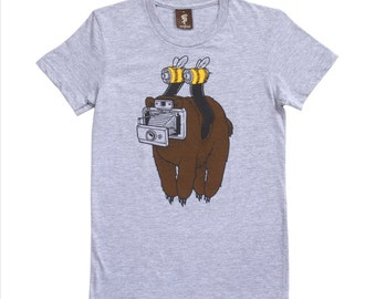 Jeremy Fish - Just Bearly - T-Shirt in Grey - street art - camera film canister bees and bears