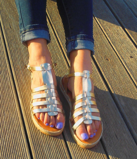 Leather Strappy Gold Leather Gladiator sandals Greek sandals Platform Sandals sandals Sandals Sandals Espadrilles w44TgYq