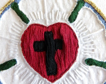 On Sale for the Reformation 500, Luther Rose Embroidery, Luther's Seal, Luther Rose, Embroidered Luther Rose, LCMS, ELCA