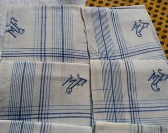 Antique Men's Handkerchief blue and white plaid linen monogram Large Unused French Fabric Tissue Pocket Square #sophieladydeparis