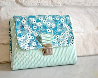 Agenda 2018, original agenda Liberty of London Mitsi emerald & faux leather mint silver, bag diary, french agenda, agenda blue woman
