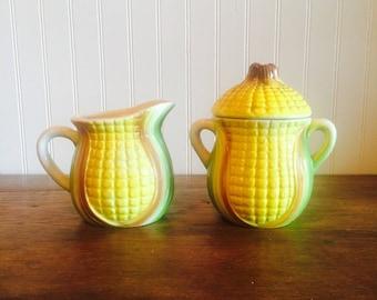 Vintage Corn Sugar and Creamer Set Made in Japan Sugar and Creamer Set Yellow Corn Motif