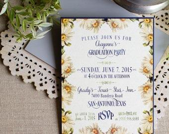 Vintage Daisy Party Invitation - graduation party - bridal shower - baby shower - floral invitation - rustic daisies invitation - birthday