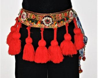 TB24 Tribal belt, Red tribal fusion ATS gypsy tassel belly dance belt, Tribal tassel belt, Tribal shell belt, Tribal mirror belt