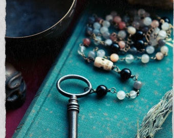 Hecate rosary, moonstone, bone and onyx necklace, vintage key pendant, moon goddess necklace, prayer beads, altar beads.