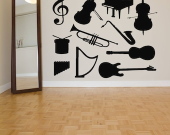 Wall Decal Sticker Drum Tuba Saxophone Acoustic Guitar Punk Rock Alternative Music Melody Band Jazz Dj Composer Notes Piano ZX436