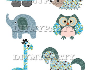 Printable party decor turtle giraffe elephant owl Clip Art  turtle clipart decoration pdf file digital birthday party scrapbooking (260)