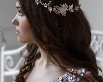 Bridal hair vine, bridal headpiece, wedding hair vine, flower wedding wreath, gold hair vine, peach hair vine, bridal hair wreath