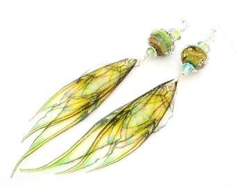 Green Earrings, Fairy Wing Earrings, Fairy Wing Jewelry, Long Dangle Earrings, Lampwork Earrings, Glass Bead Earrings, Unique Earrings