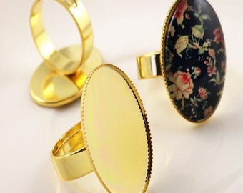 25 * 18mm: 1 brass toned Adjustable ring gold ring 25 * 18mm