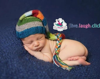 Striped Colorful Stocking Hat munchkin elf newborn infant baby photography prop