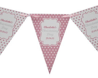 Personalised Photo Christening Bunting  Banner Party Decoration Star Flags