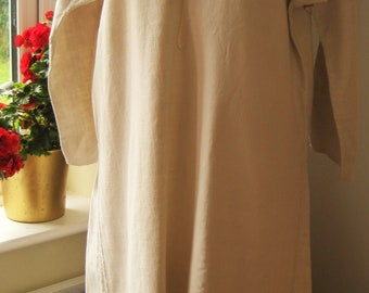 Pure Hemp Antique French Smock Chemise, Romantic Nightshirt, Brocante, Art, Nightgown, Traditional Country Shift, No 1