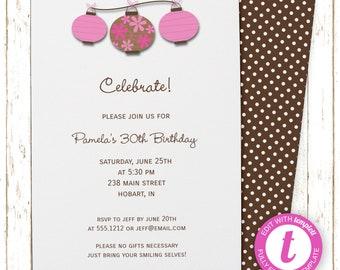 Pink Chinese Lanterns Invitation | Adult Birthday | Printable Editable Digital PDF File | Instant Download | Templett | ABI304DIY